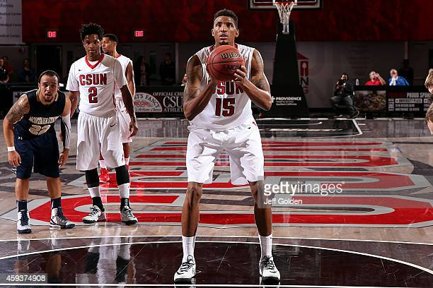 Devonte Elliott of the CSUN Matadors shoots and makes the second of two free throws against the Montana State Bobcats in the second half of the home...