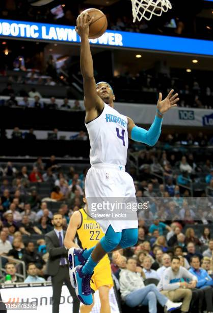 Devonte' Graham of the Charlotte Hornets drives to the basket against the Indiana Pacers during their game at Spectrum Center on November 05 2019 in...