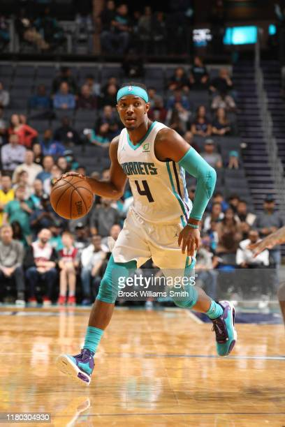 Devonte' Graham of the Charlotte Hornets handles the ball against the Indiana Pacers on November 5 2019 at Spectrum Center in Charlotte North...