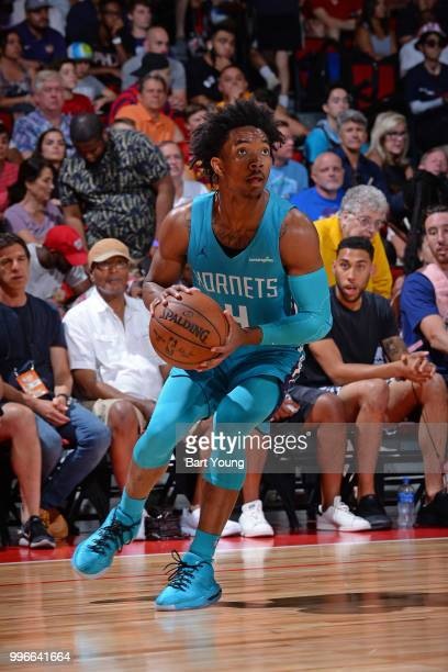Devonte' Graham of the Charlotte Hornets handles the ball against the Boston Celtics during the 2018 Las Vegas Summer League on July 9 2018 at the...