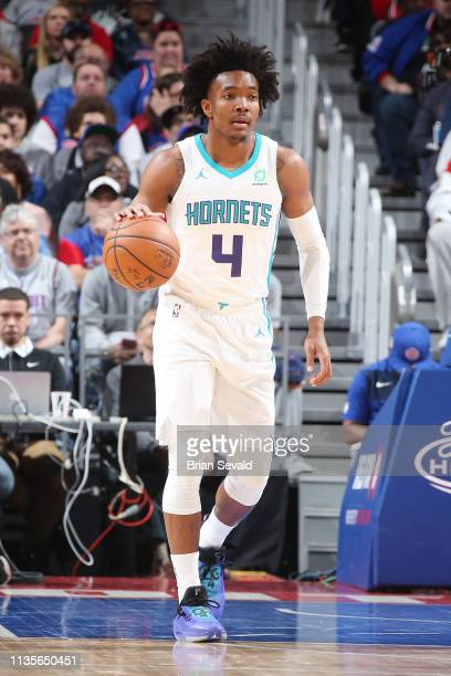 Devonte' Graham of the Charlotte Hornets handles the ball during the game against the Detroit Pistons on April 7 2019 at Little Caesars Arena in...