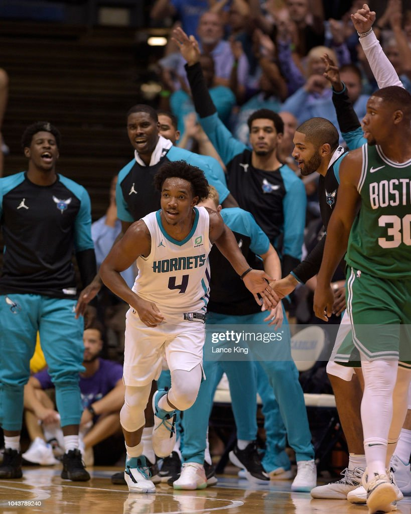 3f2705f53 Devonte  Graham of the Charlotte Hornets reacts following a... News ...