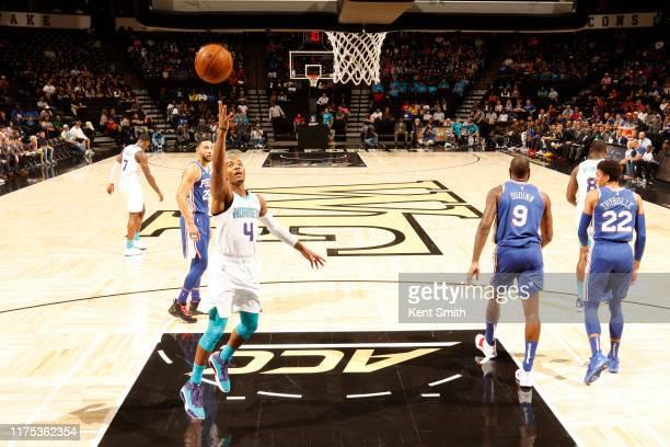 Devonte' Graham of the Charlotte Hornets shoots the ball against the Philadelphia 76ers during the preseason on October 11, 2019 at Lawrence Joel...