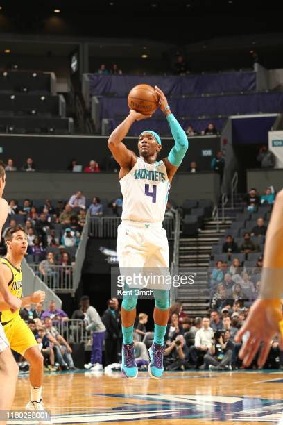 Devonte' Graham of the Charlotte Hornets shoots the ball against the Indiana Pacers on November 5 2019 at Spectrum Center in Charlotte North Carolina...