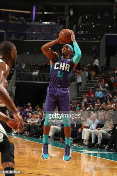 Devonte' Graham of the Charlotte Hornets shoots the ball against the Boston Celtics on November 7 2019 at Spectrum Center in Charlotte North Carolina...