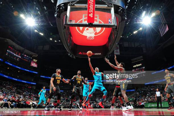 Devonte' Graham of the Charlotte Hornets shoots the ball against the Atlanta Hawks on March 9, 2020 at State Farm Arena in Atlanta, Georgia. NOTE TO...