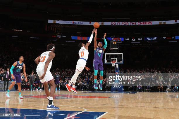 Devonte' Graham of the Charlotte Hornets shoots the game winning shot against the New York Knicks on November 16, 2019 at Madison Square Garden in...