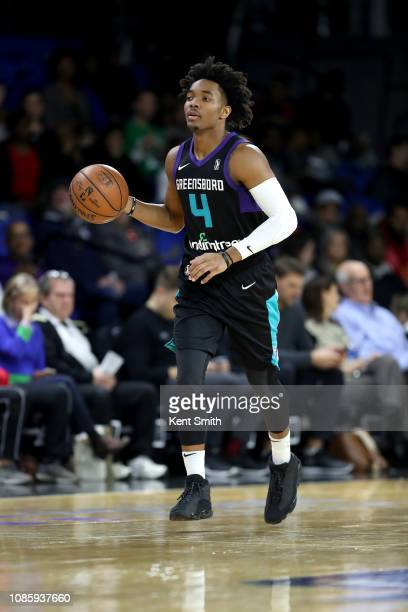 Devonte' Graham of the Greensboro Swarm handles the ball against the Canton Charge on January 21 2019 at Greensboro Coliseum Fieldhouse in Greensboro...