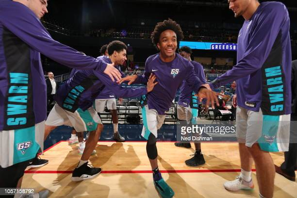 Devonte' Graham of the Greensboro Swarm runs out before an NBA GLeague game against the Capital City GoGo at the Entertainment and Sports Arena on...