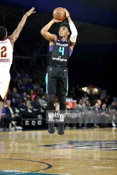 Devonte' Graham of the Greensboro Swarm shoots the ball against the Canton Charge on January 21 2019 at Greensboro Coliseum Fieldhouse in Greensboro...