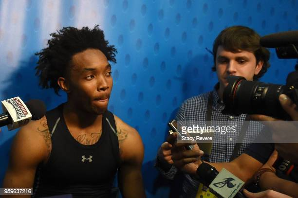 Devonte Graham speaks with reporters during Day One of the NBA Draft Combine at Quest MultiSport Complex on May 17 2018 in Chicago Illinois NOTE TO...