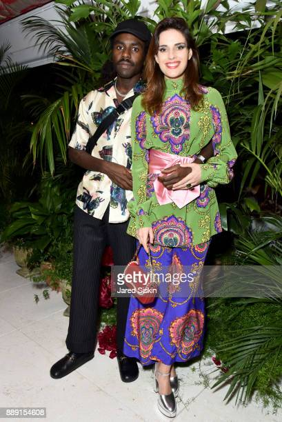 Devonte Hynes and Ana Kras attend the Gucci X Artsy dinner at Faena Hotel on December 6 2017 in Miami Beach Florida