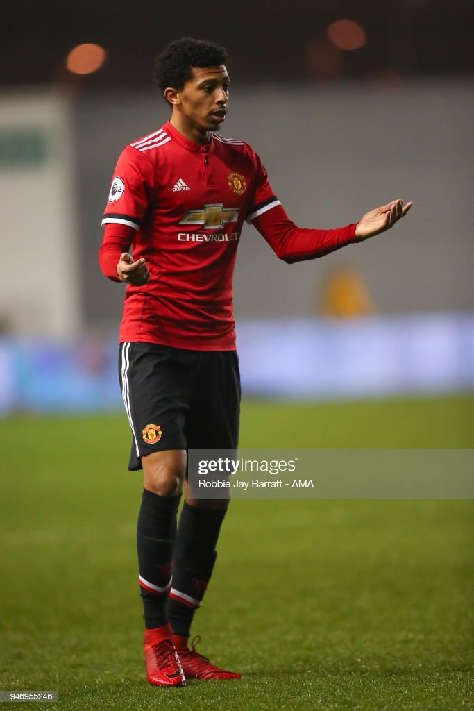 Devonte Redmond of Manchester United during the Premier League 2 match at Manchester City Football Academy on April 13, 2018 in Manchester, England.