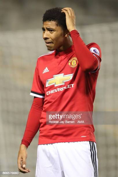 Devonte Redmond of Manchester United during the Premier League 2 fixture between Manchester United and Liverpool at Leigh Sports Village on October...