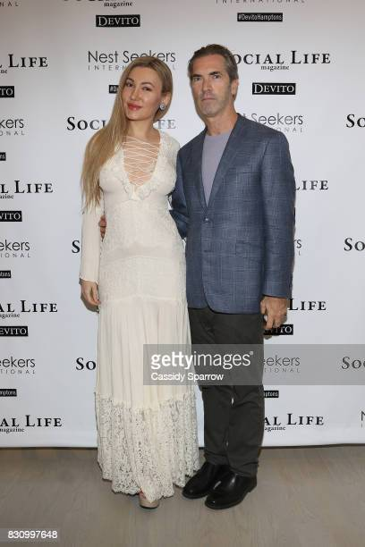 Devorah Rose and Justin Mitchell attend the Social Life Magazine Nest Seekers August Issue Party on August 12 2017 in Southampton New York