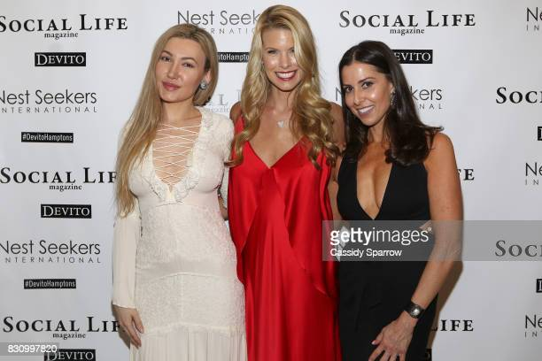 Devorah Rose Beth Stern and Christine Montanti attend the Social Life Magazine Nest Seekers August Issue Party on August 12 2017 in Southampton New...