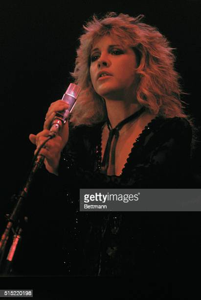 Close up of singer Stevie Nicks of the Pop music band Fleetwood Mac lit from above by a red light The US Festival was conceived and staged by Stephen...