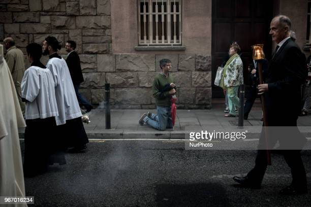 A devotee bows to the procession of Corpus Christi in Barcelona Spain on 3rd June 2018 The solemnity of Corpus Christi in Barcelona has historically...