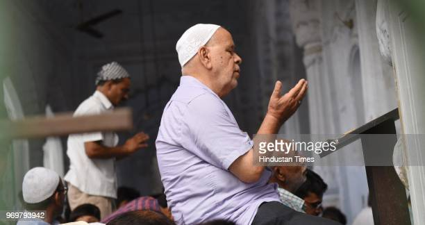 A devotee offers Alvida namaz on the last Friday in the holy month of Ramzan at Bara Imambara on June 8 2018 in Lucknow India Jumut ulWida is the...