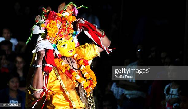 A devotee performs as Hindu deity to mark the end of the Bhadrakali Khadga Siddhi festival for this year in Kathmandu Bhadrakali Khadga Siddhi Jatra...