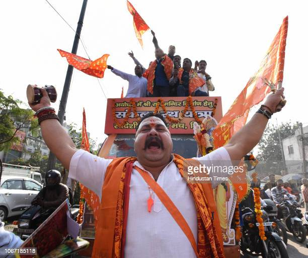 Devotees and activists of Swadeshi Jagaran Manch participate in a 10day 'Sankalp Rath Yatra' organized by RSS demanding an ordinance for the...