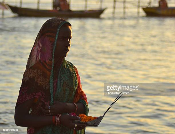 Devotees at Sangam, in Kumbh mela area, on February 7, 2013 in Allahabad, India.The mega religious fair is held once in 12 years in Allahabad and the...