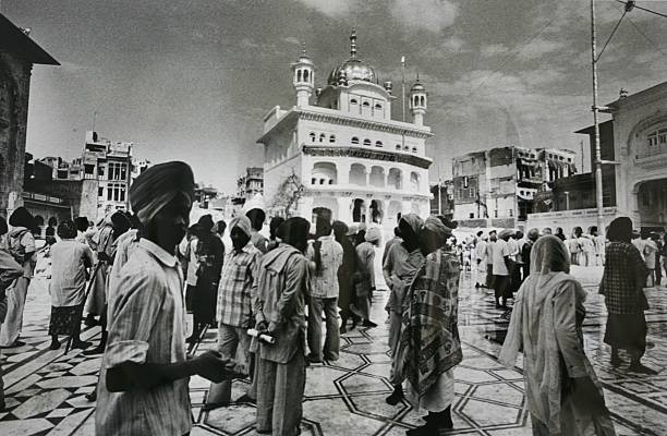Devotees at the Golden Temple after the operation was over in 1984 in Amritsar India