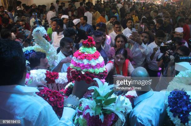 Devotees attend 'Padya Pujan' of Lalbaugcha Raja at Lalbaug on June 19 2018 in Mumbai India The Lalbaugcha Raja is the famous Ganpati statue which is...