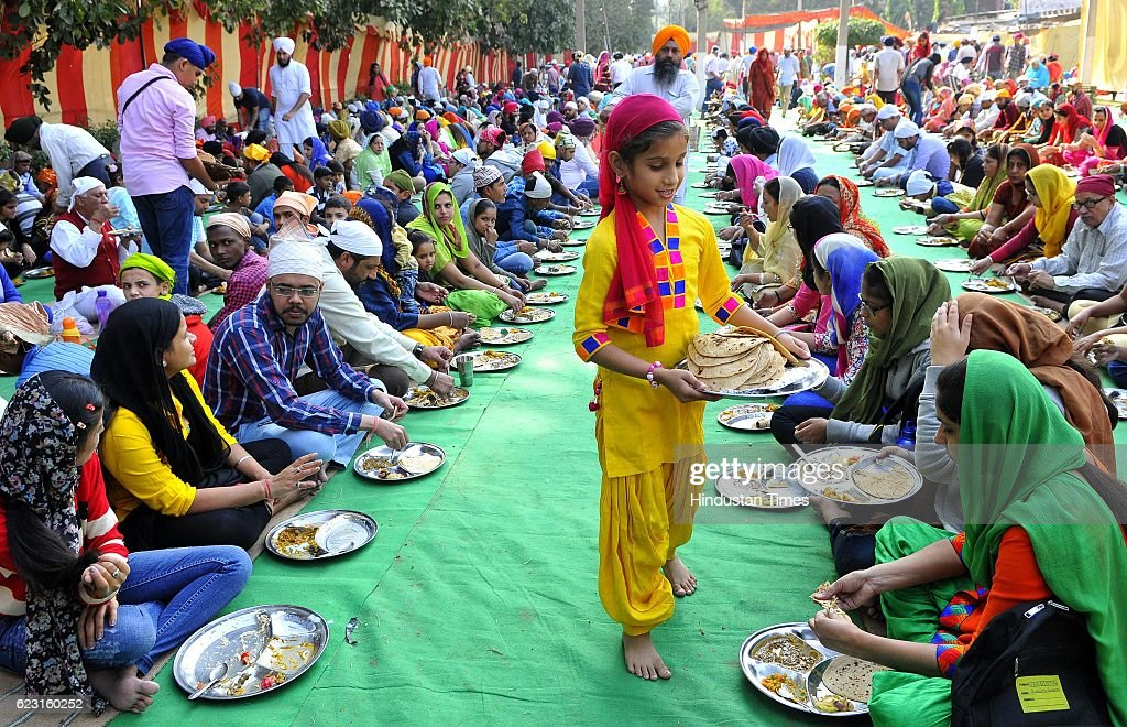 Devotees celebrating birth anniversary of Guru Nanak Dev Ji at Gurudwara Sector 34 on November 14 2016 in Chandigarh India