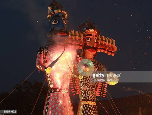 Devotees celebrating the Dussehra Festival at Shri Dharmic Ram Lila Committee on October 17 in New Delhi India Dussehra is the festival that...