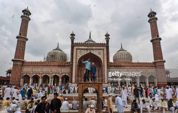 Devotees congregate to offer prayers on the occasion of Eid al-Adha at Jama Masjid, on August 1, 2020 in New Delhi, India. The holy festival of...