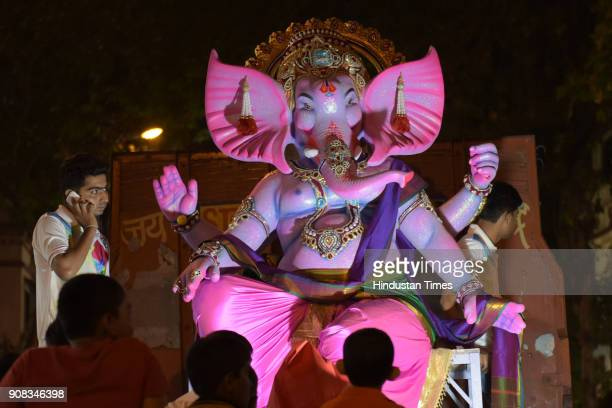 Devotees from Siddhi Boys Group celebrate arrival of Maghi Ganpati with puja being performed from tommorrow onwards at Anna Saheb Patil Ground Sec15...