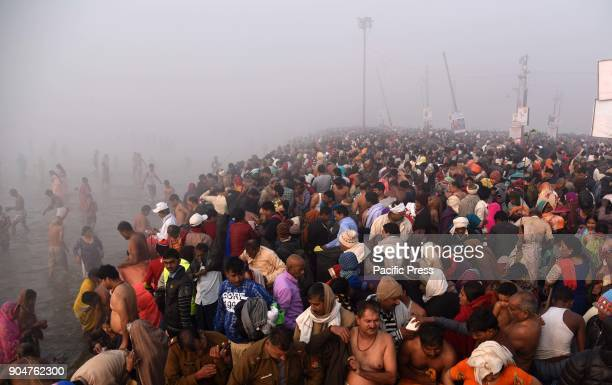 Devotees gather to take holy dip at Sangam The confluence of River Ganga Yamuna and mythological Saraswati on the occasion of Makar Sankranti...