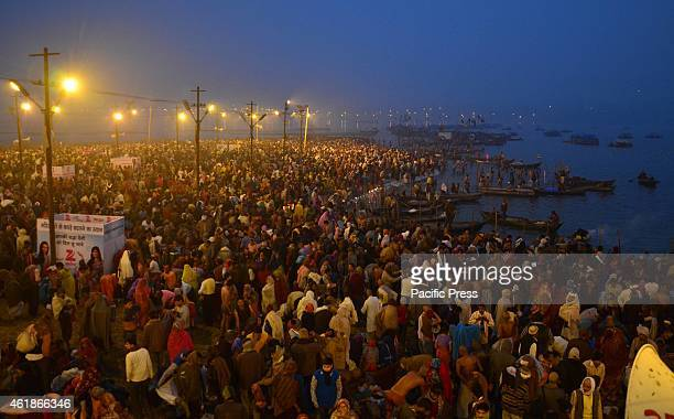 Devotees gathered at the bank of Sangam to take holydip on the occasion of 'Mauni Amavasya' during Magh mela festival
