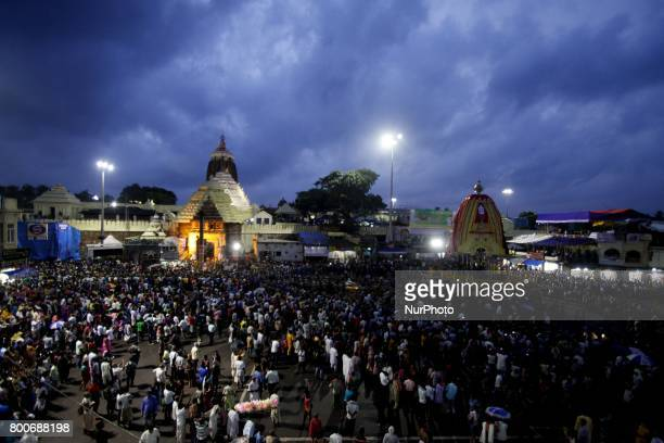 Devotees gathered in front of the Shree Jagannath temple as they arrives to participate ditties annual rath yatra festival or chariot festival as...