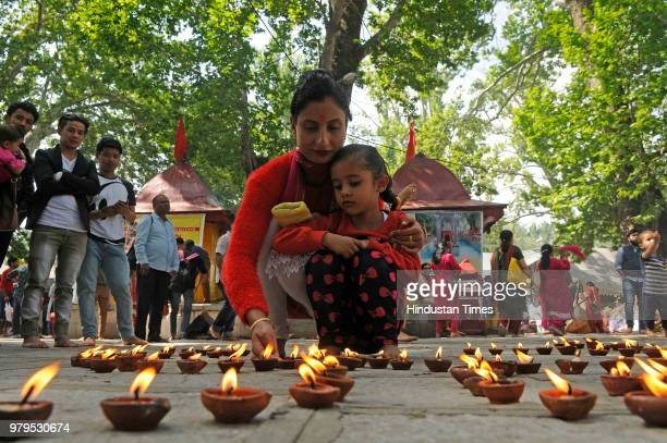 Devotees at the Mata Kheer Bhawani Temple during its annual festival on June 20 2018 in Jammu India
