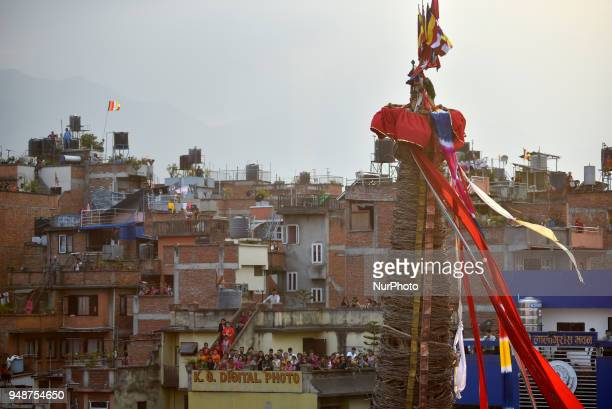 Devotees observing Chariot pulling festival of Rato Machindranath 'God of Rain' on first day at Pulchowk Lalitpur Nepal on Thursday April 19 2018...