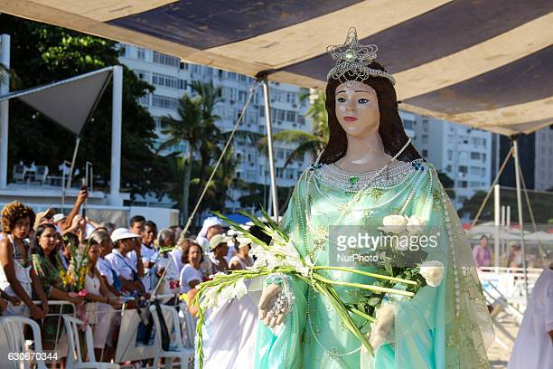 Devotees of umbanda and candomblé celebrate Iemanjá Orixá known as Queen of the Sea in Rio de Janeiro Brazil on December 29 2016 In the tradition of...