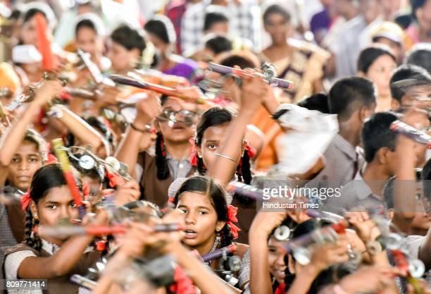 Devotees of Vitthal take part in a Wari procession on the occasion of Ashadhi Ekadashi at Wadala on July 4 2017 in Mumbai India Ashadhi Ekadashi also...