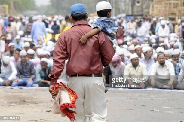 Devotees offer Alvida namaz on the last Friday in the holy month of Ramzan at Baans Balli market on June 8 2018 in Noida India Jumut ulWida is the...