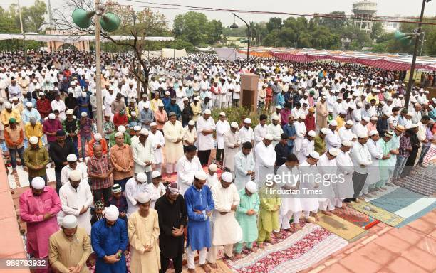 Devotees offer Alvida namaz on the last Friday in the holy month of Ramzan at Bara Imambara on June 8 2018 in Lucknow India Jumut ulWida is the last...