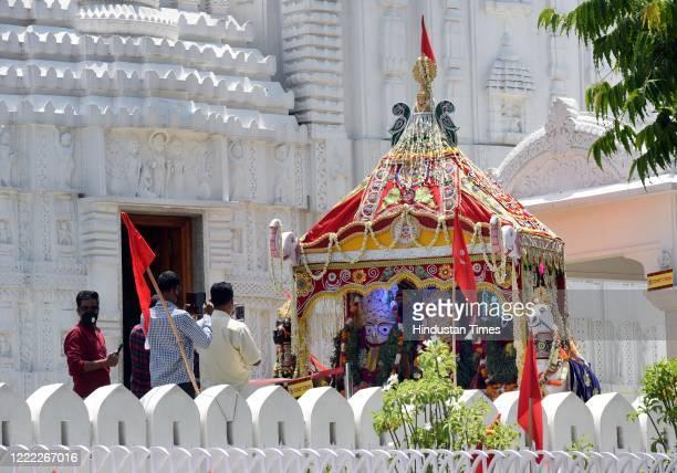 Devotees offer prayers to the Hindu deities Balabhadra Subhadra and Jagannath at Sree Neelachala Seva Sangha Jagannath Temple at Hauz Khas on June 23...