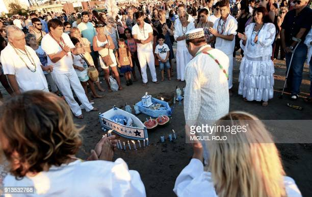 Devotees offer tribute to Iemanja the Goddess of the Sea of the Umbanda AfroAmerican religion in Montevideo on February 2 2018 Devotees traditionally...