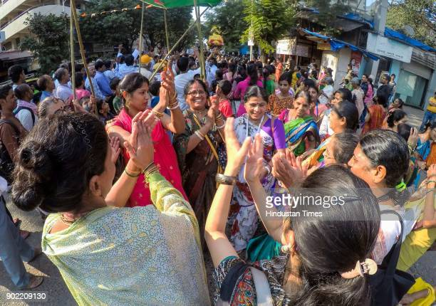 Devotees participate in Iskcon Jagannath Rath Yatra which started from Shivaji Park on January 6 2018 in Mumbai India