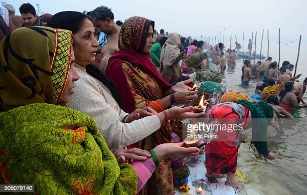 Devotees pray after holydip at Sangam the confluence of River Ganga Yamuna and mythological Saraswati on the occasion of Makar Sankranti Festival...
