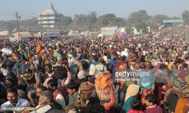 Devotees pray in Sangamwaters in Kumbhmela area in Allahabad IndiaThe mega religious fair is held once in 12 years in Allahabad and the third...