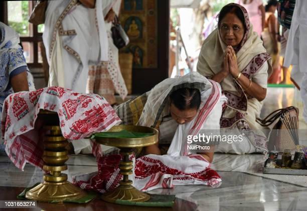 Devotees praying at Namghar during 570th birth anniversary of Saint Srimanta Sankardeva in Guwahati Assam India on Tuesday 11 September 2018 Srimanta...