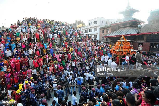 Devotees pulling the chariot of Goddess 'Kumari' on the last day of Indra Jatra Festival celebrated in Basantapur Durbar Devotees celebrated the god...