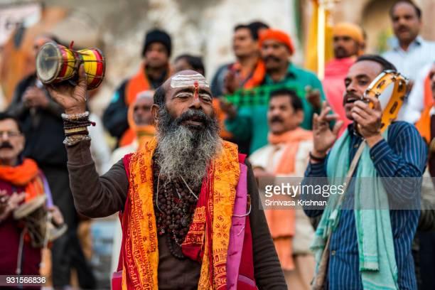Devotees singing by the ghats of Varanasi