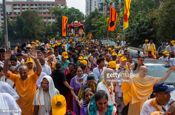 Devotees take a part in the Lord Jagannath Rath Yatra from Lokhandwala to Juhu to celebrate 40th anniversary of Juhu Iskcon temple on January 13 2018...